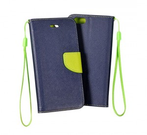 Etui Fancy Book do Nokia Lumia 640 XL granatowe / limonkowe